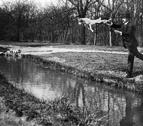 Jacques-Henri Lartigue, M. Pitt teaching his dog Tupy to jump over a brook, 1911 - ©Images are copyright of their respective owners, assignees or others