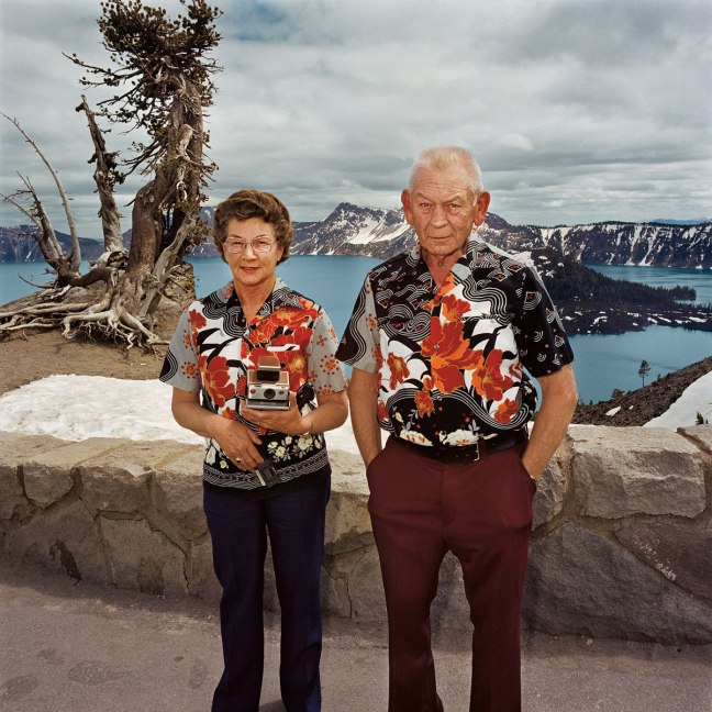 "Roger Minick, Matching shirt, Crater Lake, from the series ""Sightseen"" - © Roger Minick"