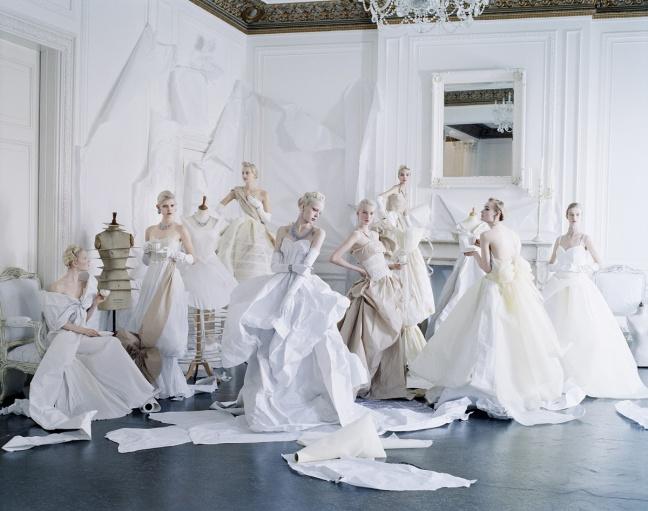 Tim Walker, Eight models in paper dresses after Cecil Beaton's image of debutantes in Charles James, London, 2012 - © Tim Walker
