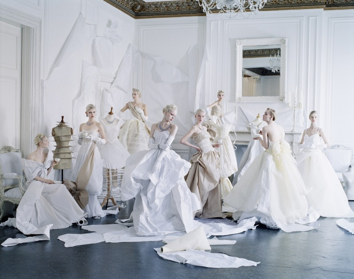 Tim Walker, Eight models in paper dresses after Cecil Beaton's image of debutantes in Charles James, London, 2012, © Tim Walker