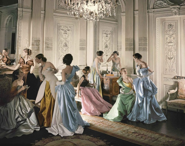 Cecil Beaton, Eight models wearing Charles James gowns, in French & Company's eighteenth century French paneled room. Charles James Ball Gowns, 1948. - Copyright © Condé Nast